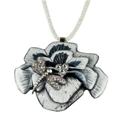 Magna-Pendant Black and White Flower - These pendants attach magnetically, and can be used also as a broach by using additional magnet included.