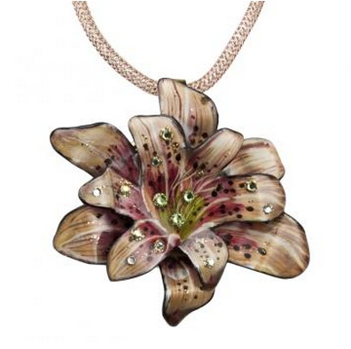 Magna-Pendant - Tiger Lilly.  These pendants attach magnetically, and can be used also as a broach by using additional magnet included.