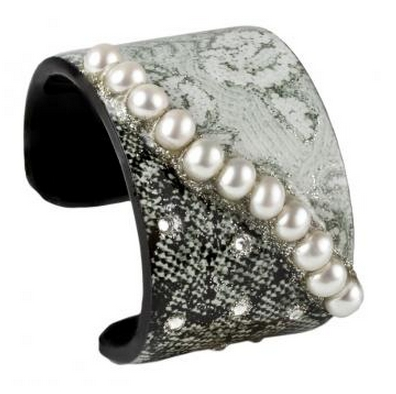 Wide Cuff - Black and White Pears.  Cultured fresh water pearls. Feather light, Hand silk screened, embellished with diamond dust and glitter and encapsulated in Jewelry grade acrylic. Adorned with Swarovski crystals.