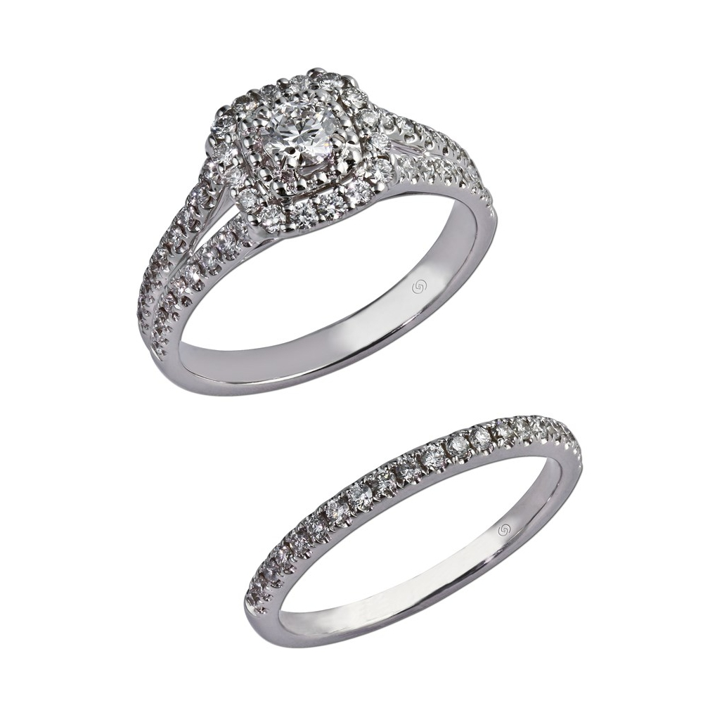 Just Beginning diamond engagement ring with two rows of sparkling prong set diamonds beginning halfway up the shank, splitting at the shoulders, leading the eye to a gorgeous diamond and beaded halo.  With wedding band for bridal set. Style 28776
