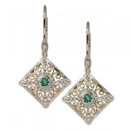 Two-tone gold emerald earrings. Stanton 81052