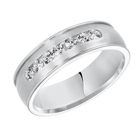 Wedding band with seven diamonds and satin finish. Fredrick Goldman Visions22-8105