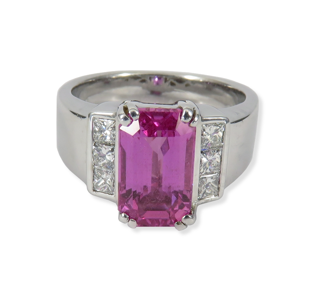 Pink Sapphire ring with diamonds in white gold. Great for fashion or for an engagement ring. William August R1045