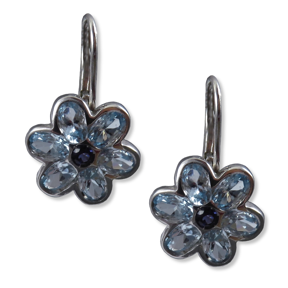 Blue topaz and iolite flower earrings. Color Story DE3699