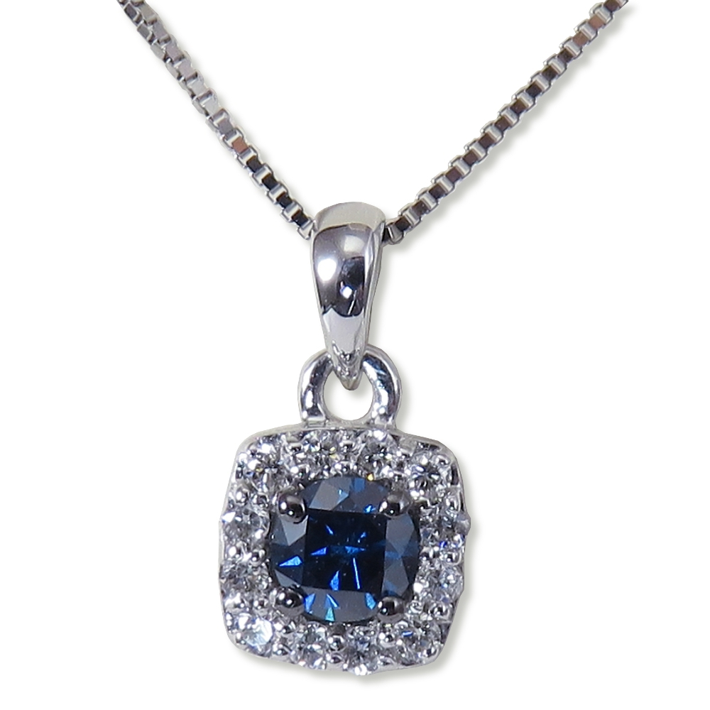 Treated blue diamond with halo pendant. North American Jewelry Company SP26191