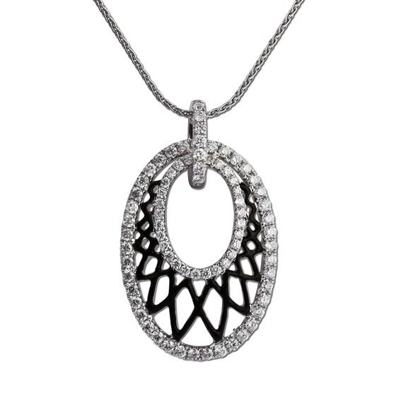 Diamond and black enamel latticework pendant. Gottlieb & Sons29322B