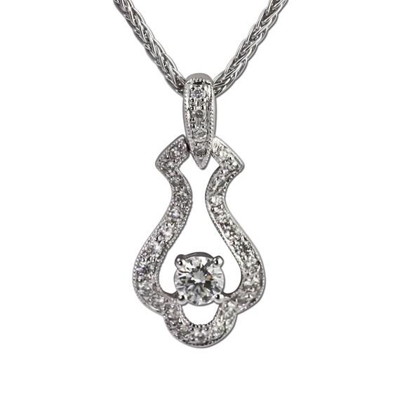 Bead set diamond pendant with milgrain. Gottlieb & Sons 27886B