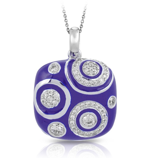 Galaxy Iris- Blue Pendant.  Reach for the stars with the cosmic-inspired Galaxy. Glittering orbs and orbits of stunning stones sparkle on breathtaking backgrounds of hand-painted enamels.