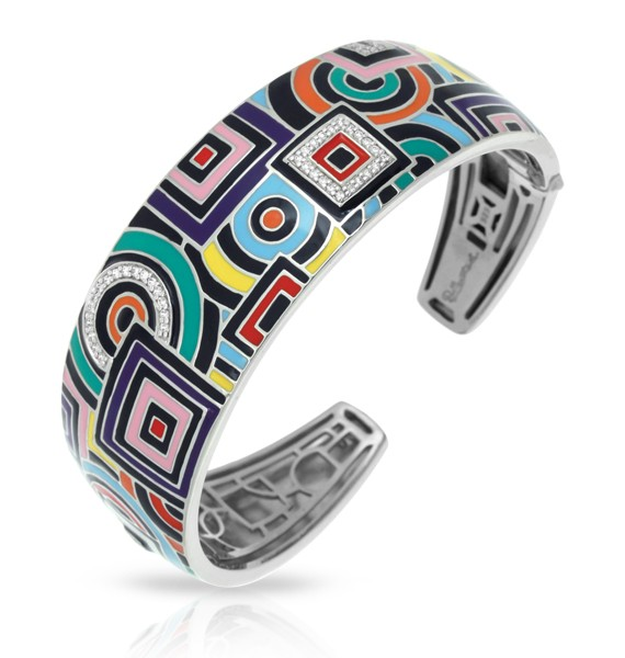 Geometrica Multicolor Bangle.  Find twinkling stones nestled within this unique and avant-garde design. Each piece of the Geometica Collection represents a wearable piece of classic cubism fine art.