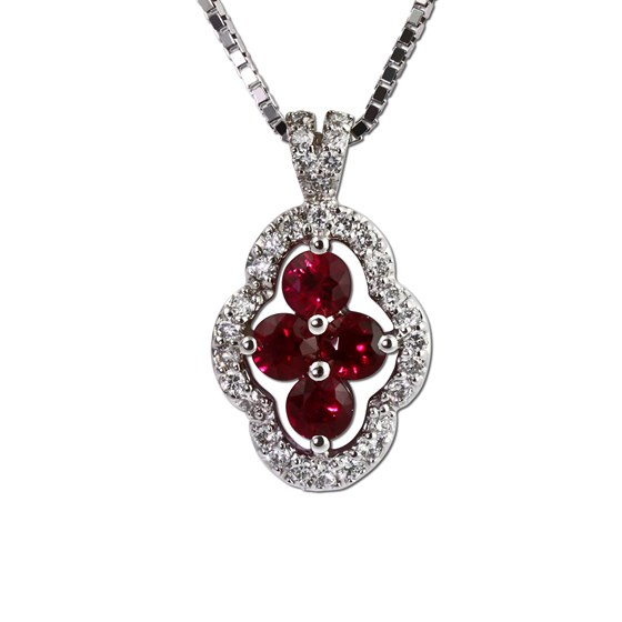 Ruby and diamond pendant in white gold. Gottlieb & Sons 27493B