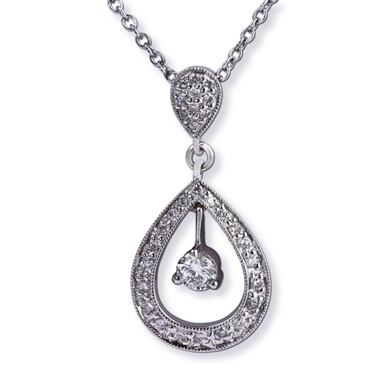 Teardrop diamond necklace with diamond* in the center. Gottlieb & Sons 27501B*