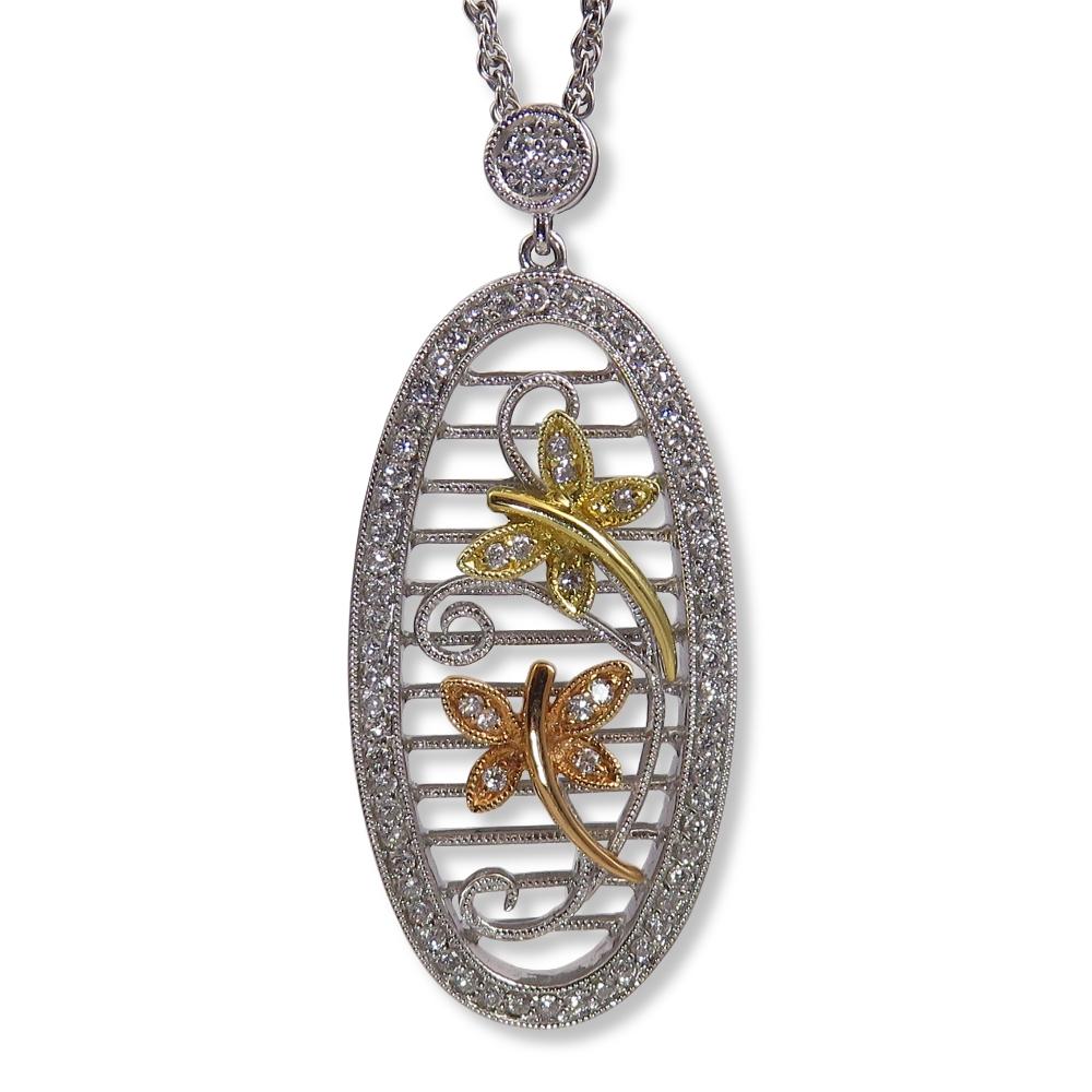 Tri-color gold and diamond dragonfly pendant. Allison Kaufman N7234