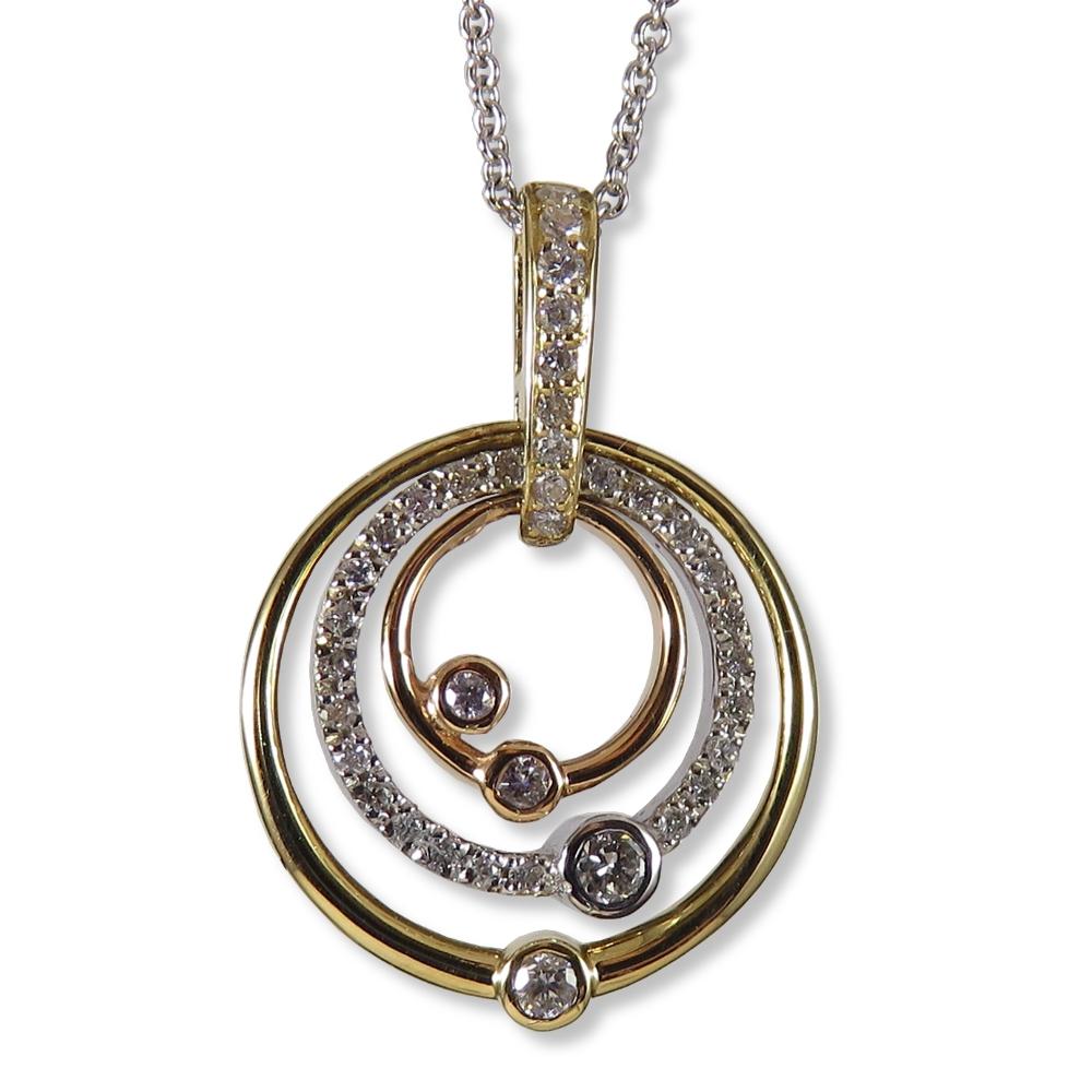 Tri-color gold and diamond pendant. Ancora Designs PD293