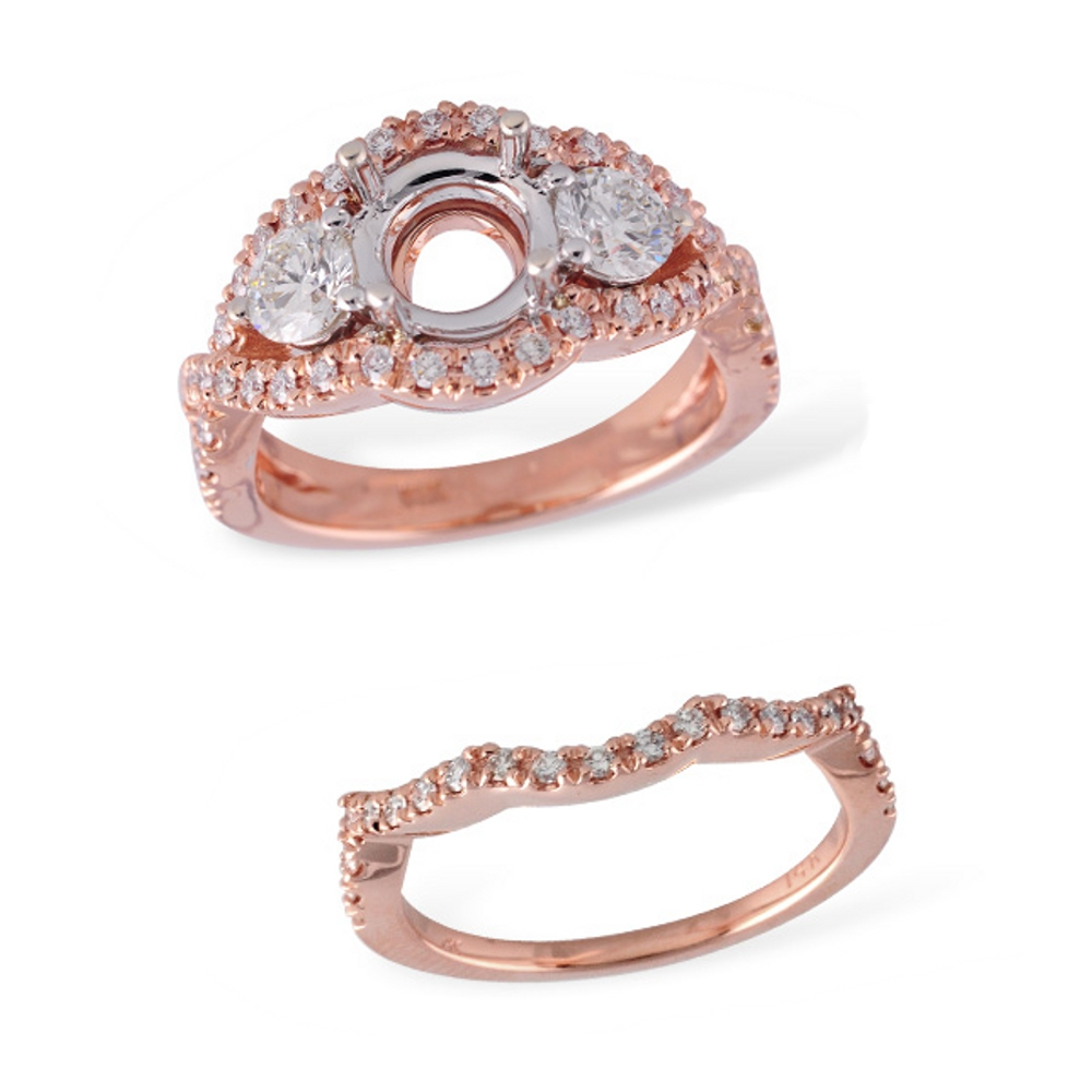 Rose gold engagement ring and wedding band bridal set with pave set diamonds and two prong set diamonds next two a center stone that you can choose! Allison Kaufman L7418