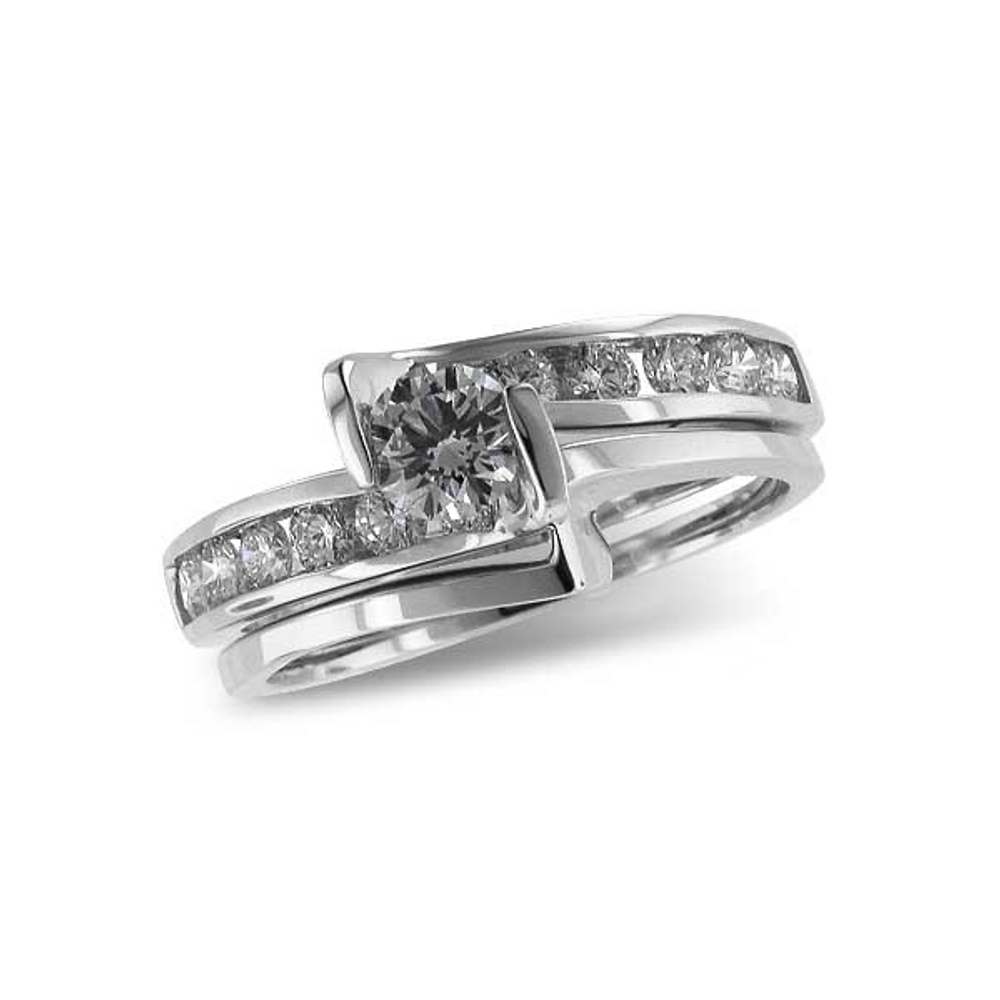 Angular engagement ring and wedding band bridal set with .94 total carat weight of diamonds. Allison Kaufman S8009