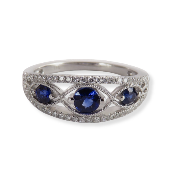 Sapphire ring with diamonds in white gold.  Ancora Designs NVB1025