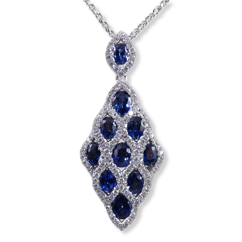 Blue sapphire pendant with 2.20 ct. of sapphire and .50 ct. of diamonds. DiaExpressions