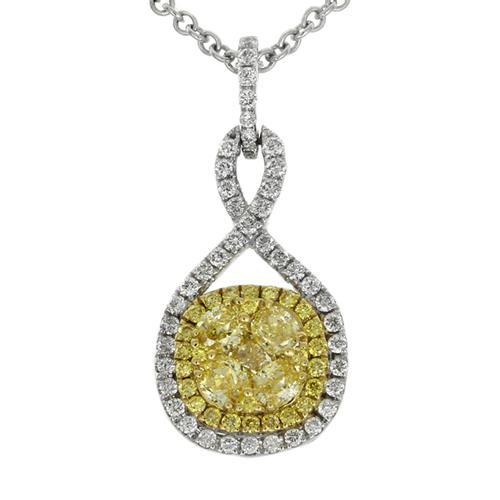 Natural yellow diamond and colorless diamond 18K white gold pendant. Gregg Ruth Tessera Collection
