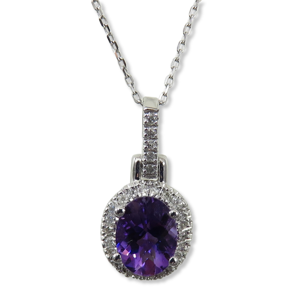 Amethyst with diamond pendant in white gold. Wilkersons