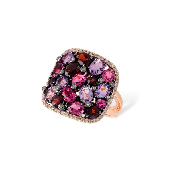 Amethyst, pink tourmaline, and garnet ladies fashion ring with diamonds in rose gold. Allison Kaufman D5435