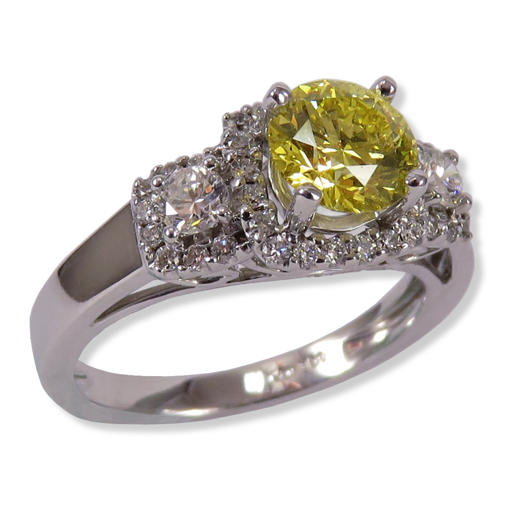 Vintage inspired 3-stone halo ring with .91 ct. treated yellow diamond. Gottlieb & Sons 28805