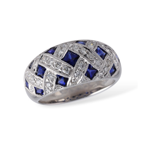 Sapphire and diamond ladies fashion ring in white gold. Allison Kaufman W1974