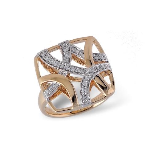 Two-tone ladies diamond fashion ring. Allison Kaufman D5152
