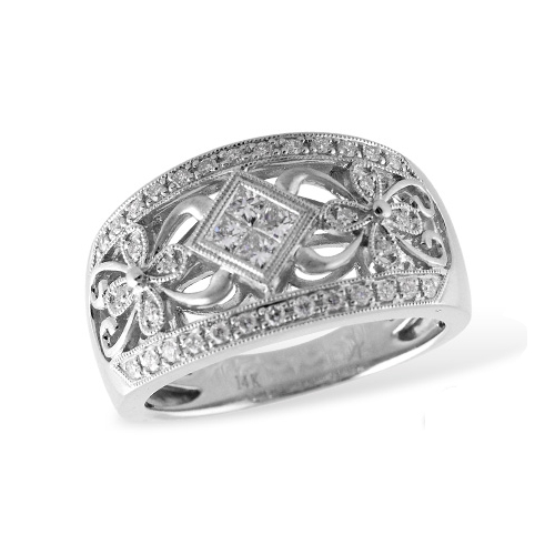 Vintage inspired diamond ring. Allison Kaufman W1827