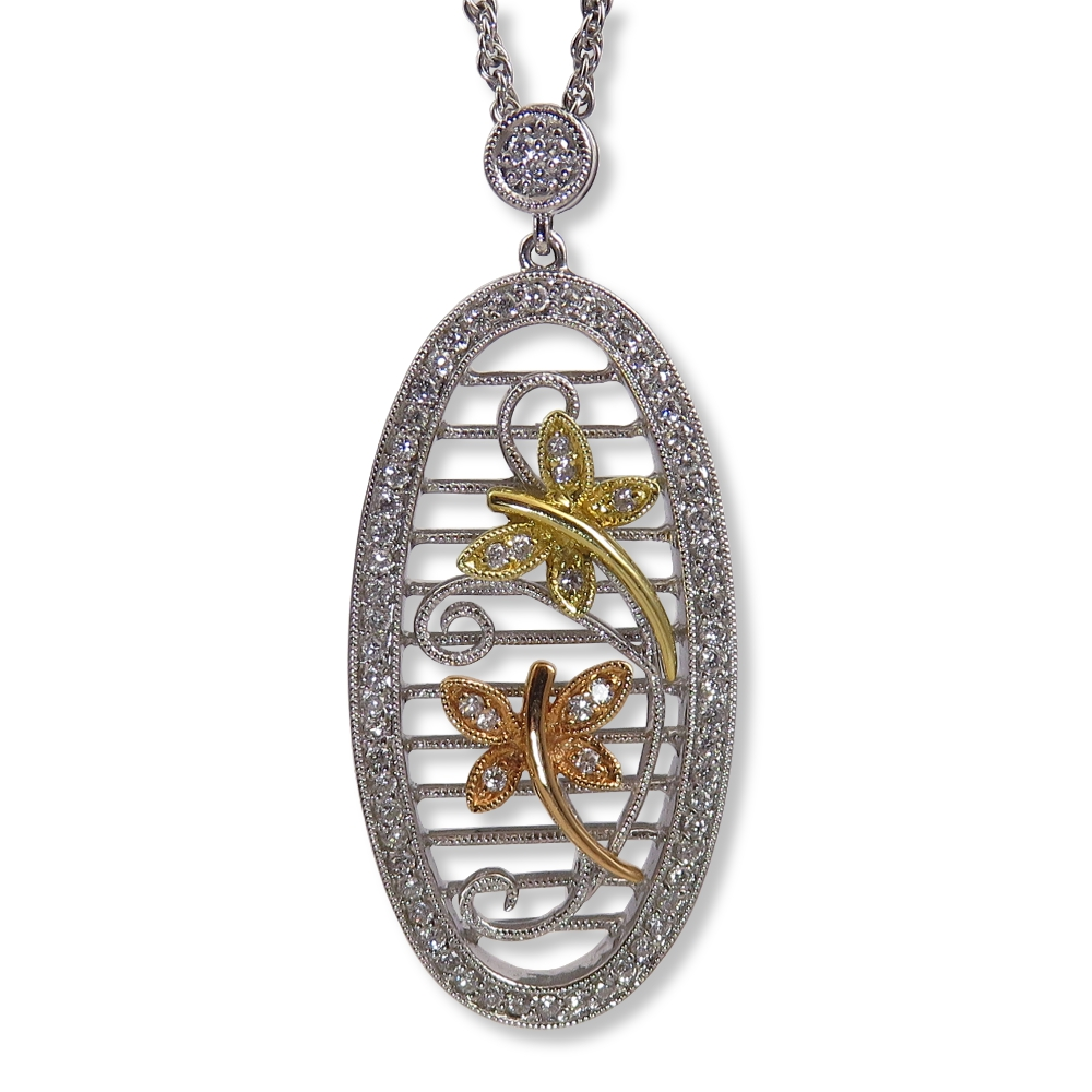 Tri-color gold and diamond dragonfly pendant. Allison Kaufman N7234