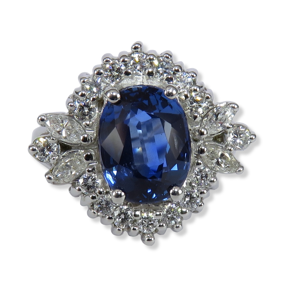 3 ct. sapphire with .71 ctw. diamonds in 18K white gold. Estate (DiaExpressions)