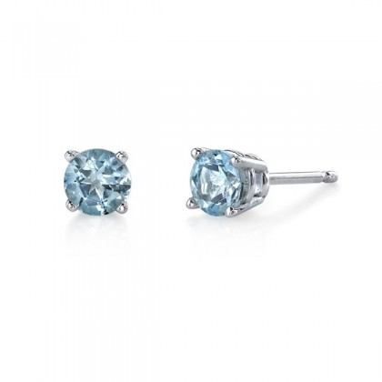 Aquamarine stud earrings. Available in a variety of sizes and in white or yellow gold.