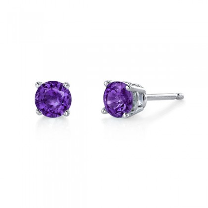 Amethyst studs.  Available in many sizes and in white or yellow gold.