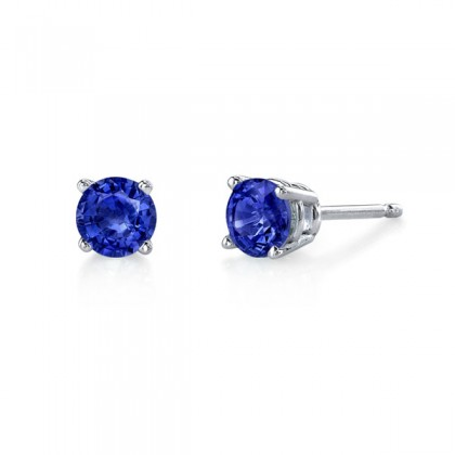 Sapphire studs.  Available in many sizes and in white or yellow gold.