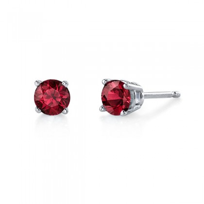 Ruby studs.  Available in many sizes and in white or yellow gold.