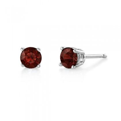 garnet studs.  Available in many sizes and in white or yellow gold.