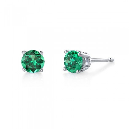 Emerald studs.  Available in many sizes and in white or yellow gold.