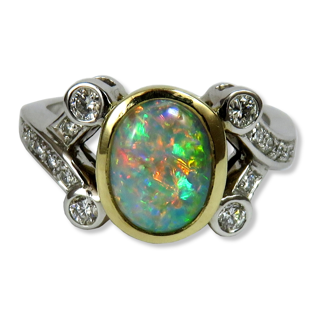 Opal with diamonds in two-tone ring. William August R1083