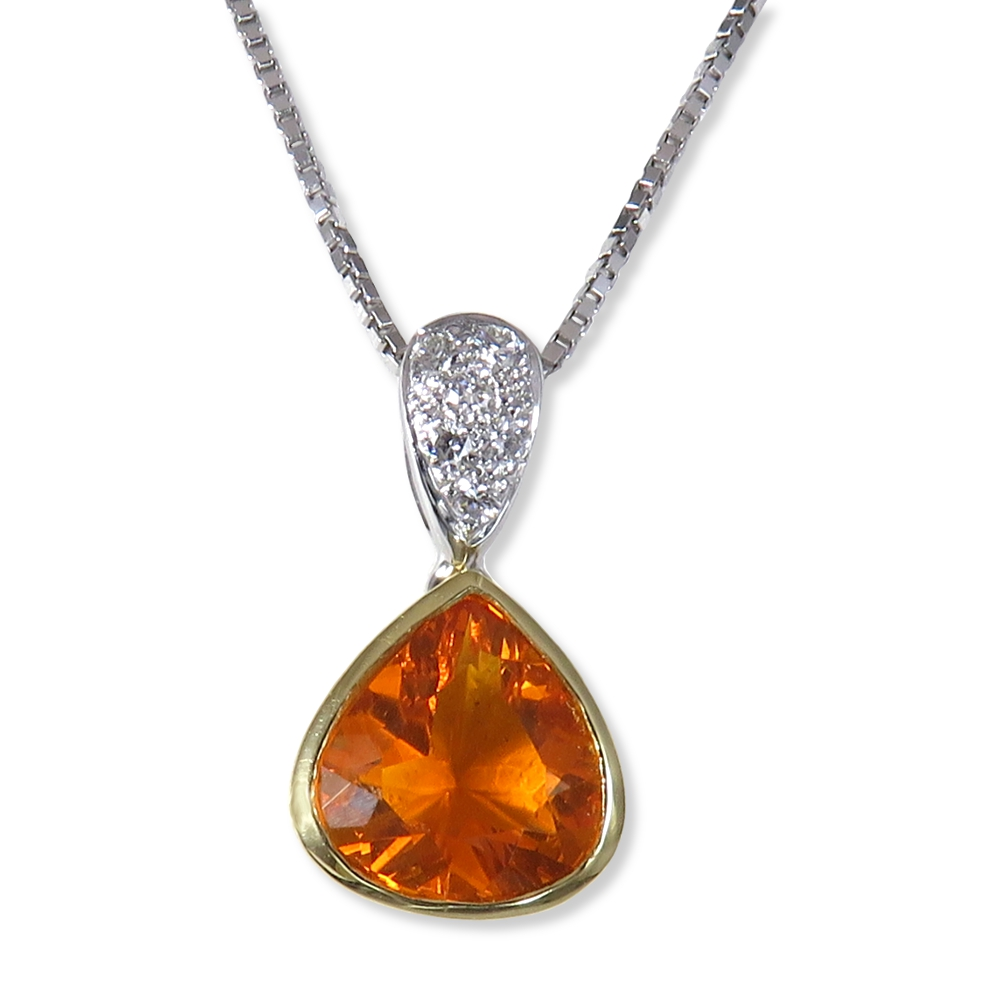 Fire opal with diamond pendant in two-tone gold. William August P1076