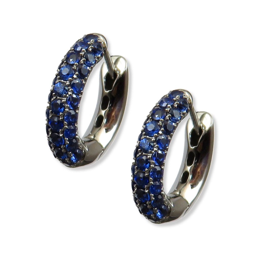Brilliant blue pave set sapphire earrings. William August ER15A