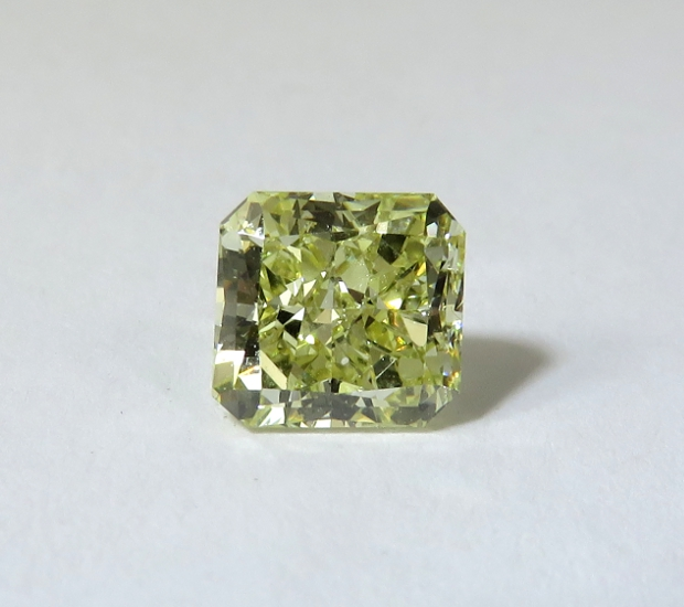 Natural yellow radiant cut diamond.