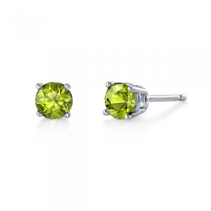 Peridot studs.  Come in a variety of sizes and in white or yellow gold.