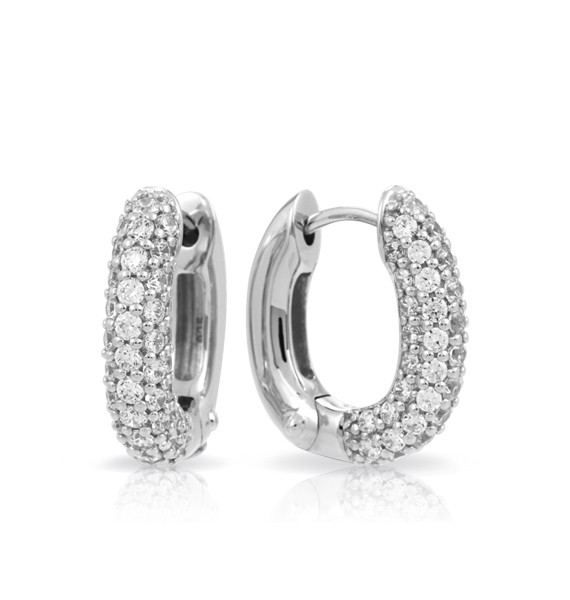 Hoops White Earrings by Belle Étoile.  White stones set into rhodium-plated, nickel allergy-free, 925 sterling silver.