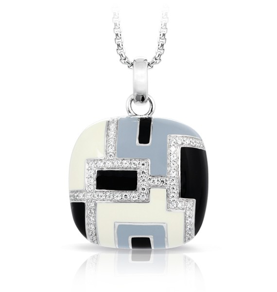 Art Deco, inspired by the popular art movement of the same name, features intriguing geometric designs. Black, grey, and white enamels combine with rows of stones on 925 sterling silver.