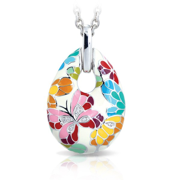 Imagine yourself in a butterfly sanctuary, with countless fluttering rainbows everywhere you look. Belle Etoile makes that sanctuary a reality with the Butterfly Kisses collection. Beautiful hand-painted enamel butterflies take flight on studded wings set on the finest rhodium-plated sterling silver. The fanciful colors of Butterfly Kisses inspire you to take flight in this magical paradise.
