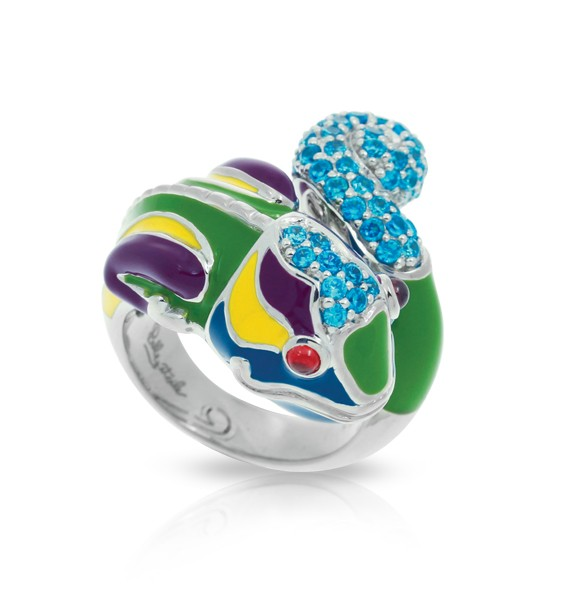 Chameleon Ring by Belle Étoile.  Hand-painted green and multi-colored Italian enamels with olive, amethyst, aquamarine and ruby stones set into rhodium-plated, nickel allergy-free, 925 sterling silver.