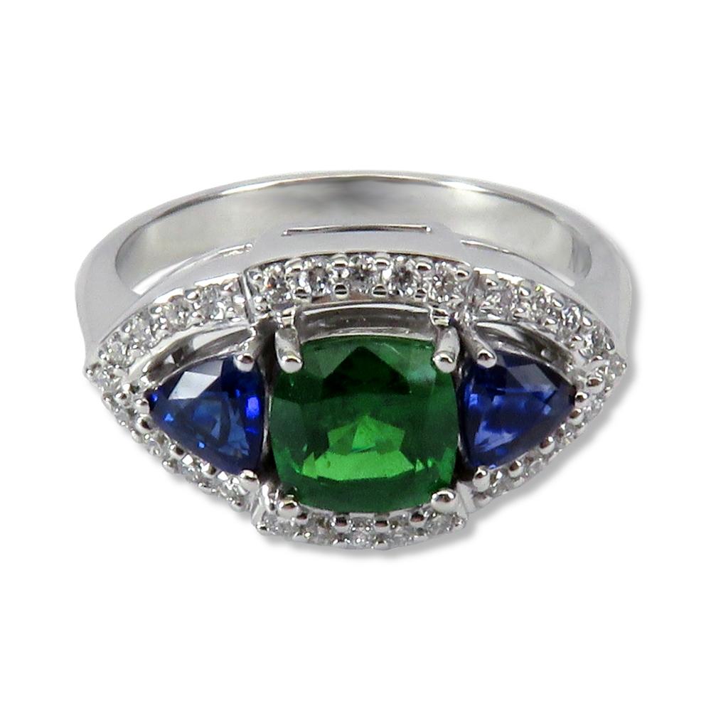 Sapphire and tsavoite garnet ring in 14k white gold with diamonds. William August