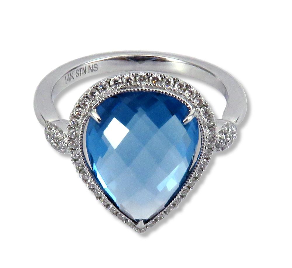 Checkerboard cut blue topaz and diamonds in 14k white gold. Stanton Color