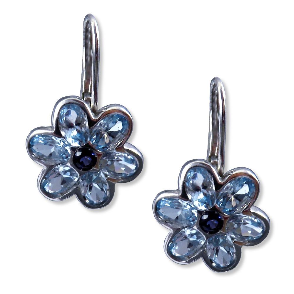 Blue topaz and iolite earrings in 14k white gold.