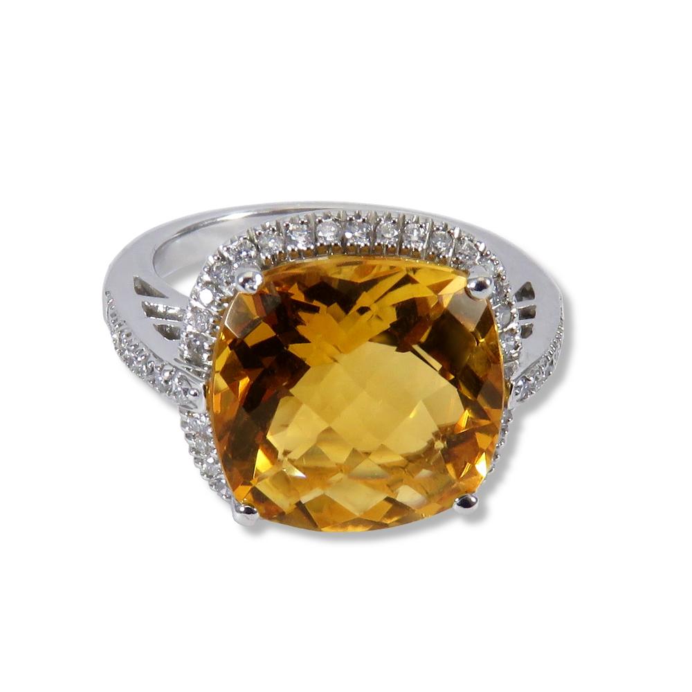 Checkerboard cut citrine and diamonds in 14k white gold.