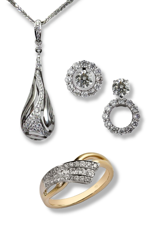 Diamond jewelry front.  Diamond ring, diamond pendant, and diamond earrings.